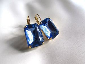 Light Sapphire Blue Crystal Earrings - Large Octagon
