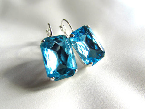 Aquamarine Blue Crystal Earrings - Large Octagon