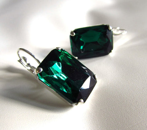 Emerald Crystal Earrings - Large Octagon