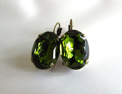 Large Oval Olive Green Earrings