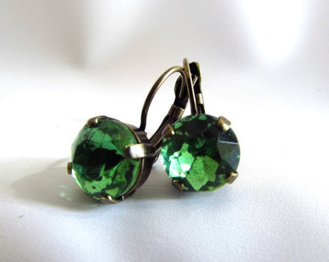 Small Apple Green Peridot Crystal Earrings