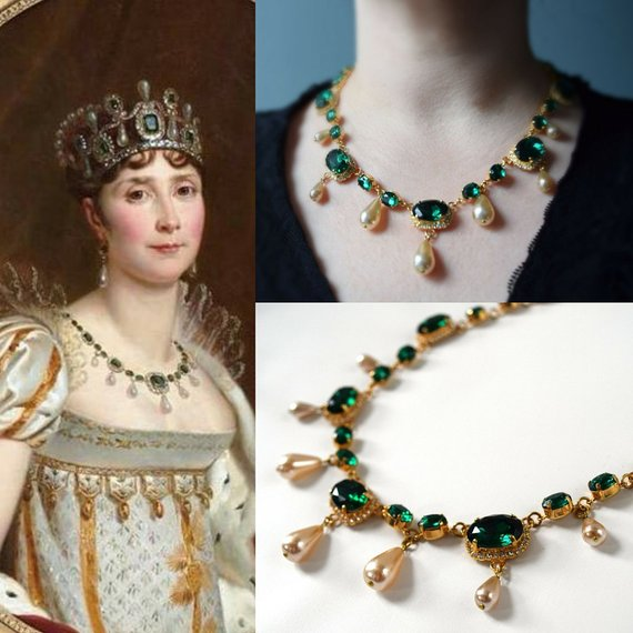 Empress Josephine Crystal and Pearl Necklace