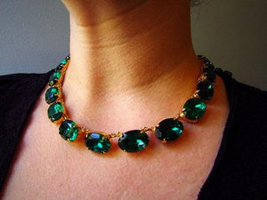 Large Oval Emerald Collet Necklace