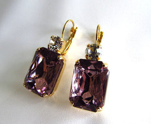 Light Amethyst Purple Crystal Earrings - Large Octagon 2 stone