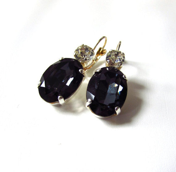 Dark Grey Swarovski Crystal Earrings - Large Oval 2 Stone