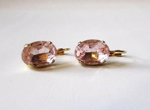 Medium Blush Pink Paste Glass Earrings