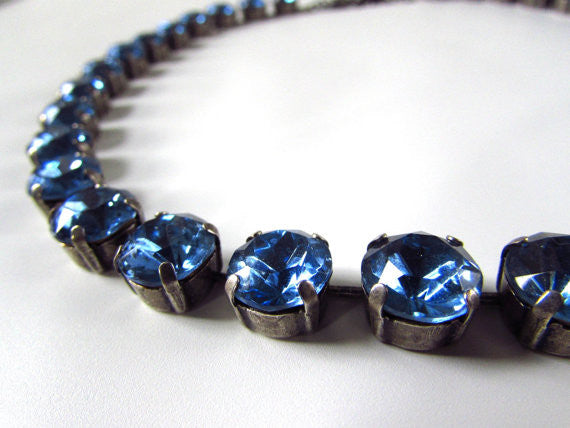 Light Sapphire Blue Riviere Necklace - Small Round