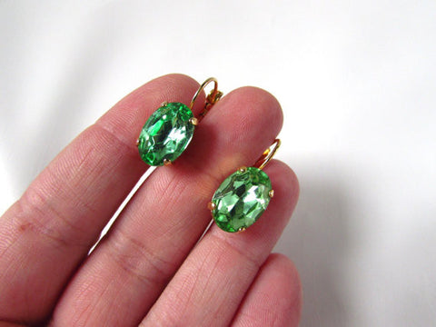 Peridot Green Crystal Earrings - Medium Oval