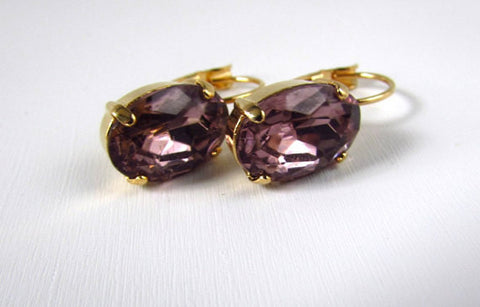 Medium Light Purple Paste Glass Earrings