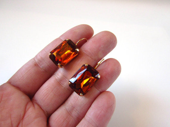 Madeira Topaz Crystal Earrings - Large Octagon