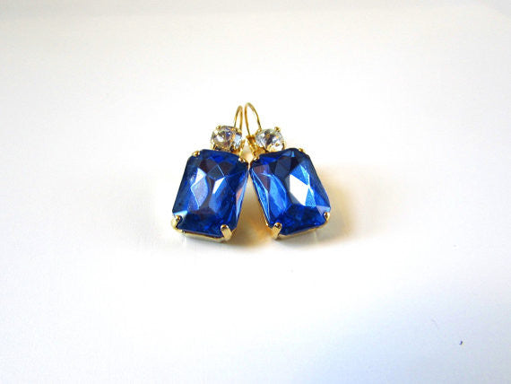 Royal Blue Crystal Earrings - Large Octagon 2 stone