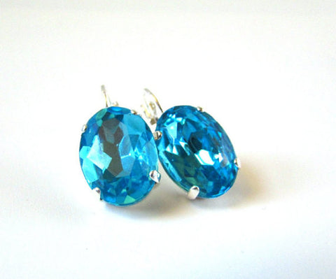 Large Oval Aquamarine Blue Earrings