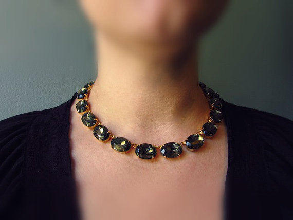 Grey Crystal Collet Necklace - Large Oval