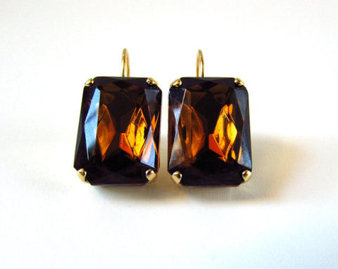 Large Brown Topaz Crystal Earrings