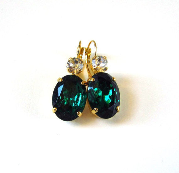 Emerald Green Crystal Earrings - Large Oval 2 stone