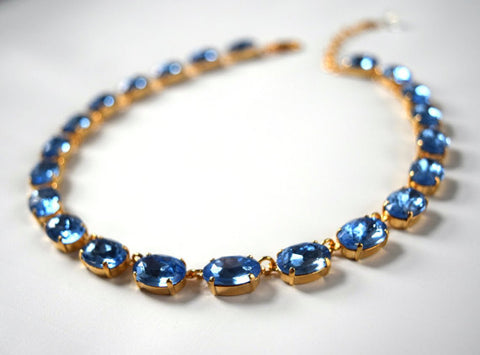Light Blue Crystal Riviere Necklace - Medium Oval