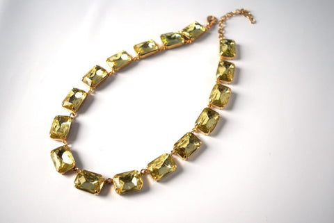 Citrine Yellow Crystal Collet Necklace | Large Octagon Riviere