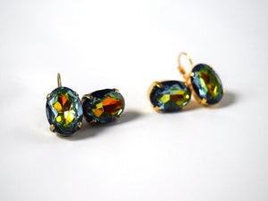 Rainbow Crystal Earrings - Large Rhinestone
