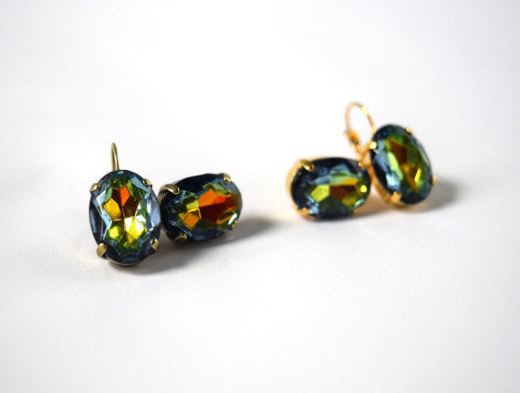 Rainbow Crystal Earrings - Large Oval