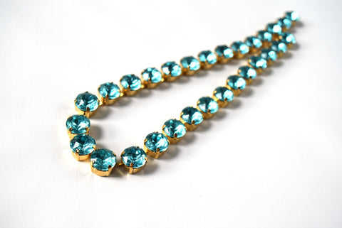Aquamarine Blue Collet Necklace | Crystal Riviere Necklace - Small Round