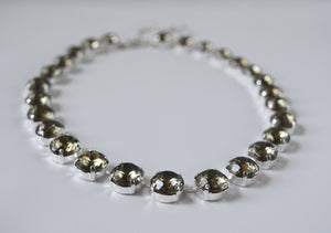 Gunmetal Grey Collet Necklace | Crystal Riviere Necklace - Small Round