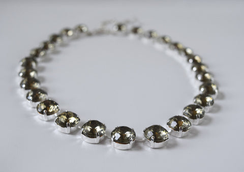 Small Gunmetal Grey Collet Necklace | Crystal Riviere Necklace