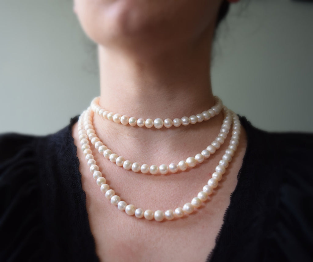 Triple Strand Pearl Necklace, 18th Century Style Multistrand Pearl Necklace,  Reproduction 18th Century Necklace
