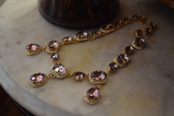 Light Amethyst Halo Riviere Necklace