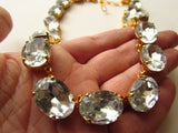 Diamond Crystal Collet Necklace, Large Oval Clear Crystal Riviere Necklace