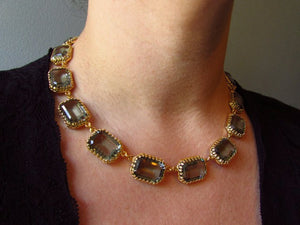 Slate Grey Riviere Necklace - Swarovski Crown Large Octagon