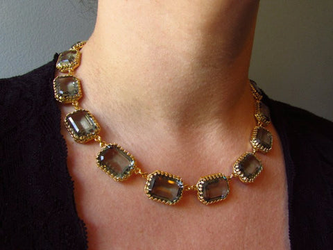 Large Octagon Slate Grey Riviere Necklace - Crown Settings, Swarovski Crystals