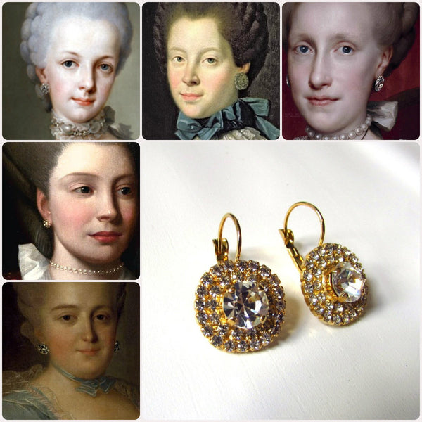 18th Century Paste Glass Earrings Reproduction Rococco