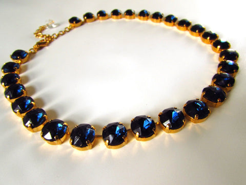 Small Navy Blue Crystal Riviere Necklace | Montana Sapphire Necklace