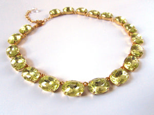 Citrine Yellow Collette Necklace, Large Oval Riviere Necklace