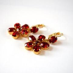 Georgian Garnet Floral Earrings