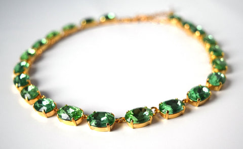 Medium Oval Peridot Green Riviere Necklace - Spring Green Crystal Necklace