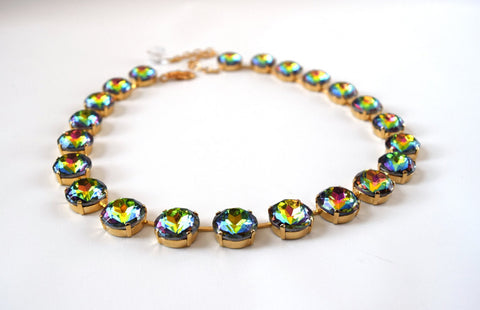 Medium Round Rainbow Crystal Necklace | Vitrail Collet Necklace