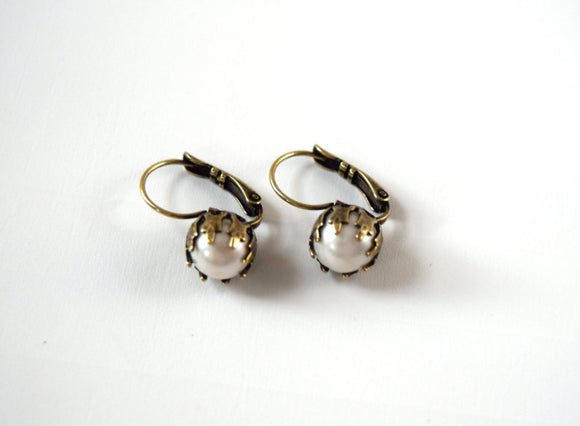 Vintage Style Pearl and Crown Dangle Earrings