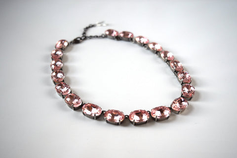Blush Pink Crystal Collet Necklace, Pink Paste Riviere Necklace, Large Oval Collet Necklace