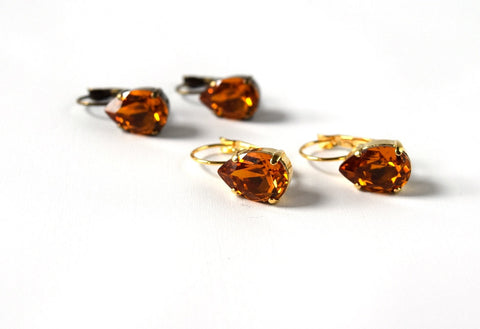 Orange Topaz Crystal Teardrop Earrings | Vintage Swarovski Crystal Earrings