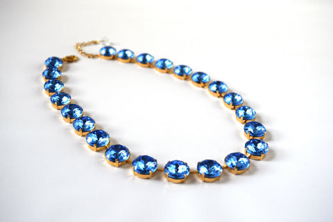 Medium Round Ocean Blue Riviere Necklace | Blue Crystal Necklace