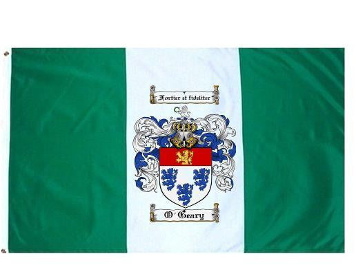 O'Geary family crest coat of arms flag