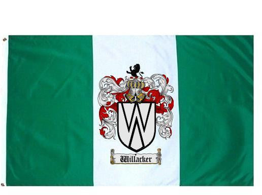 Willacker family crest coat of arms flag