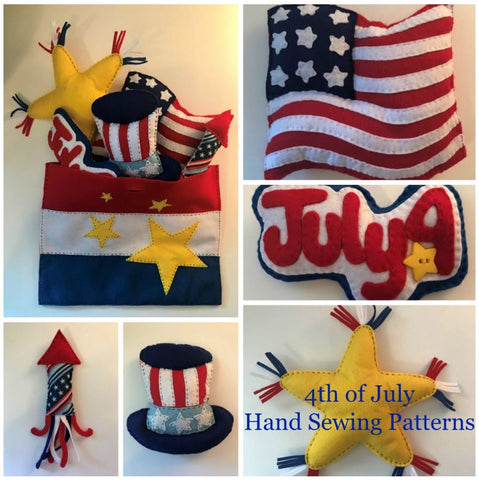 4th of July Theme Hand Sewing Patterns- 6 American Patriotic Sewing Projects