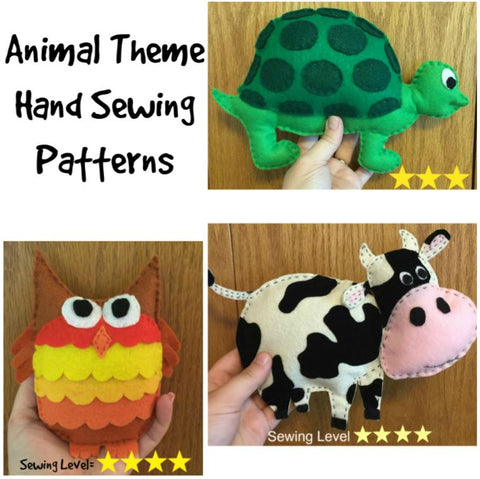 Animal Theme Felt Hand Sewing Patterns Bundle