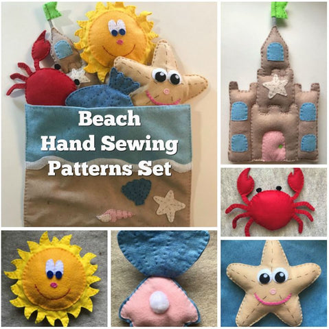 Beach Theme Hand Sewing Patterns- 6 Beach Felt Hand Sewing Projects
