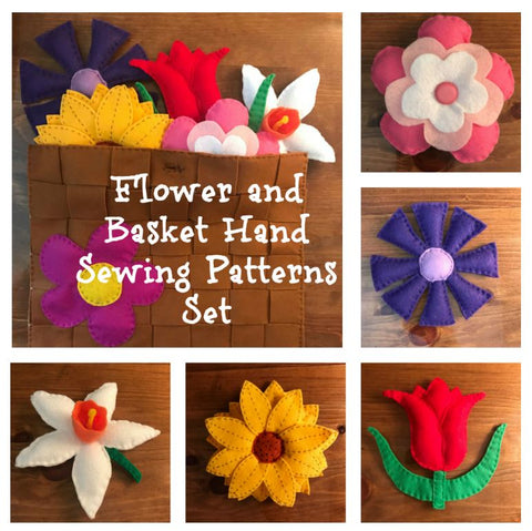 Flower and Basket Hand Sewing Patterns Set- 5 flower patterns and basket for storing