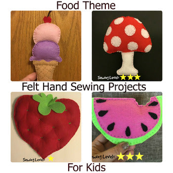 Food Theme Felt Hand Sewing Patterns Bundle