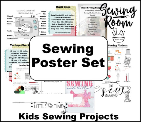 Kids Sewing Posters Set- 12 Informational and Fun Sewing Posters