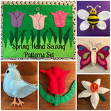 6 Spring Theme Hand Sewing Patterns- Bee, Butterfly, Bluebird, Flower Patterns Sewing Projects